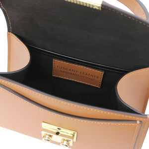 Internal Compartment View Of The Cognac Leather Mini Handbag