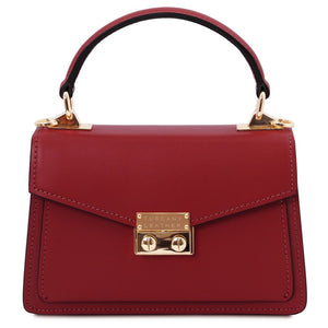 Front View Of The Red Leather Mini Handbag
