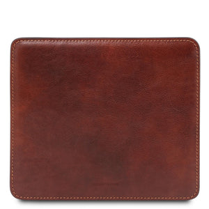 Front View Of The Brown Leather Mouse Pad Of The Leather Desk Set