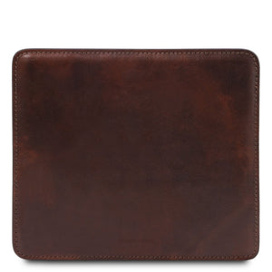 Front View Of The Dark Brown Leather Mouse Pad Of The Leather Desk Set