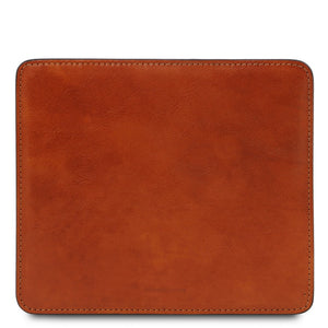 Front View Of The Honey Leather Mouse Pad Of The Leather Desk Set