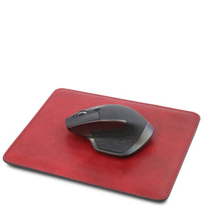 Angled With Mouse View Of The Red  Leather Mouse Pad Of The Leather Desk Set