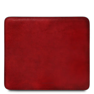 Front View Of The Red Leather Mouse Pad Of The Leather Desk Set