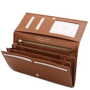 Open Wallet View Of The Cognac Leather Purse For Women