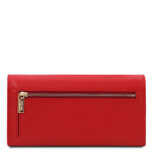 Rear View Of The Lipstick Red Leather Purse For Women