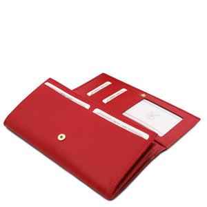 Features View Of The Lipstick Red Leather Purse For Women