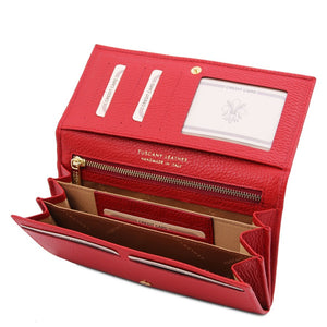 Open Wallet View Of The Lipstick Red Leather Purse For Women