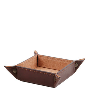 Angled View Of The Brown Small Leather Desk Tidy Tray