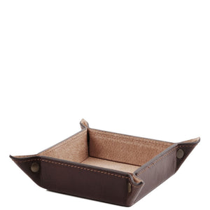 Angled View Of The Dark Brown Small Leather Desk Tidy Tray