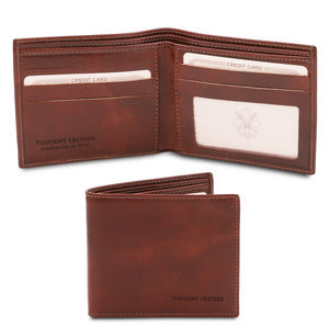 Open And Front View Of The Brown Leather Wallet For Men