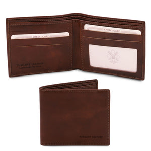Open And Front View Of The Dark Brown Leather Wallet For Men