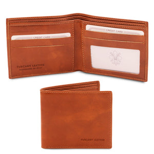 Open And Front View Of The Honey Leather Wallet For Men