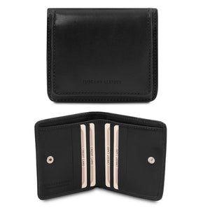 Front And Open View Of The Black Leather Wallet With Coin Pocket