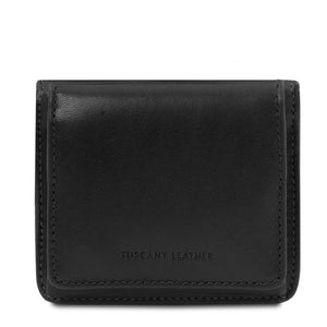 Front View Of The Black Leather Wallet With Coin Pocket