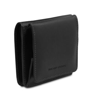Angled View Of The Black Leather Wallet With Coin Pocket