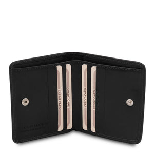 Credit Card Holder View Of The Black Leather Wallet With Coin Pocket