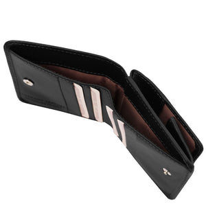 Currency Holder View Of The Black Leather Wallet With Coin Pocket