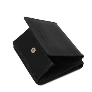 Partial Opening View Of The Black Leather Wallet With Coin Pocket