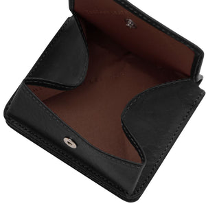 Fully Opened View Of The Black Leather Wallet With Coin Pocket
