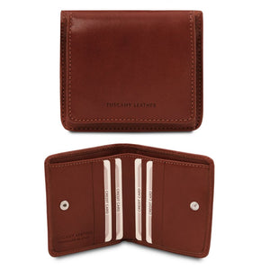 Front And Open View Of The Brown Leather Wallet With Coin Pocket
