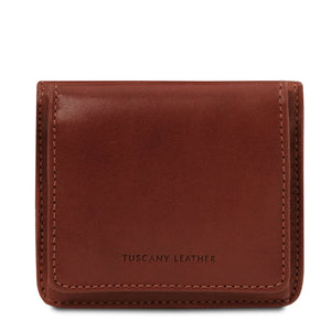 Front View Of The Brown Leather Wallet With Coin Pocket