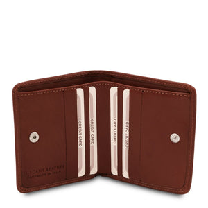 Credit Card Holder View Of The Brown Leather Wallet With Coin Pocket
