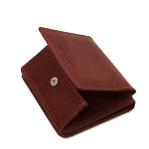Partial Opening View Of The Brown Leather Wallet With Coin Pocket