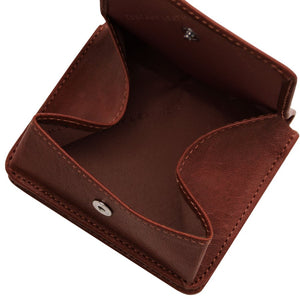 Fully Opened View Of The Brown Leather Wallet With Coin Pocket