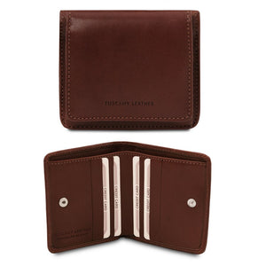 Front And Open View Of The Dark Brown Leather Wallet With Coin Pocket