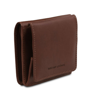 Angled View Of The Dark Brown Leather Wallet With Coin Pocket