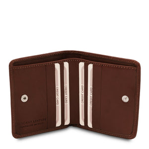 Credit Card Holder View Of The Dark Brown Leather Wallet With Coin Pocket