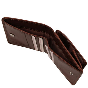 Currency Holder View Of The Dark Brown Leather Wallet With Coin Pocket