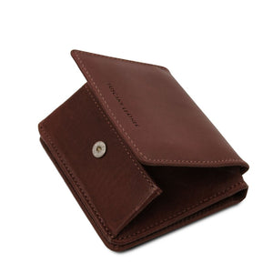 Partial Opening View Of The Dark Brown Leather Wallet With Coin Pocket
