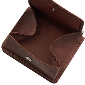 Fully Opened View Of The Dark Brown Leather Wallet With Coin Pocket