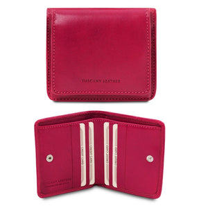 Front And Open View Of The Fuchsia Leather Wallet With Coin Pocket