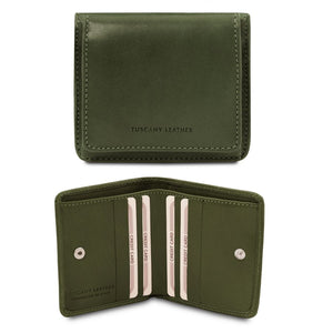 Front And Open View Of The Green Leather Wallet With Coin Pocket