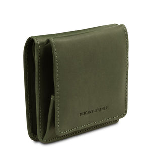Angled View Of The Green Leather Wallet With Coin Pocket