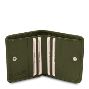 Credit Card Holder View Of The Green Leather Wallet With Coin Pocket
