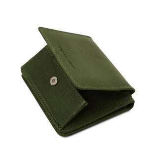 Partial Opening View Of The Green Leather Wallet With Coin Pocket