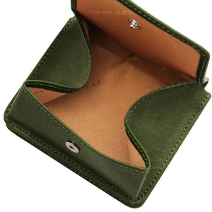 Fully Opened View Of The Green Leather Wallet With Coin Pocket