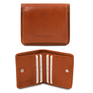 Front And Open View Of The Honey Leather Wallet With Coin Pocket