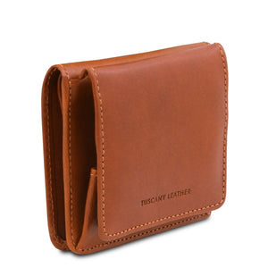 Angled View Of The Honey Leather Wallet With Coin Pocket