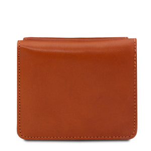 Rear View Of The Honey Leather Wallet With Coin Pocket