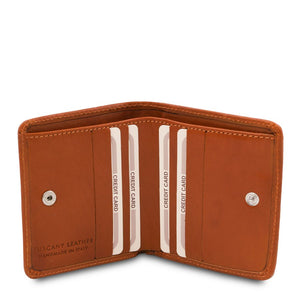 Credit Card Holder View Of The Honey Leather Wallet With Coin Pocket
