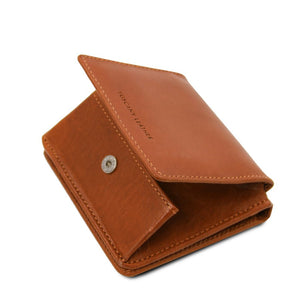 Partial Opening View Of The Honey Leather Wallet With Coin Pocket