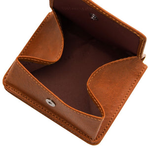 Fully Opened View Of The Honey Leather Wallet With Coin Pocket