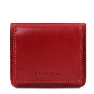 Front View Of The Red Leather Wallet With Coin Pocket