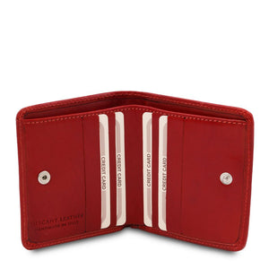 Credit Card Holder View Of The Red Leather Wallet With Coin Pocket
