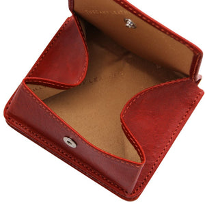 Fully Opened View Of The Red Leather Wallet With Coin Pocket