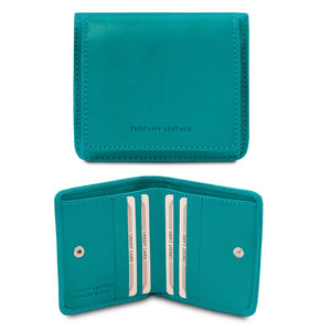 Front And Open View Of The Turquoise Leather Wallet With Coin Pocket